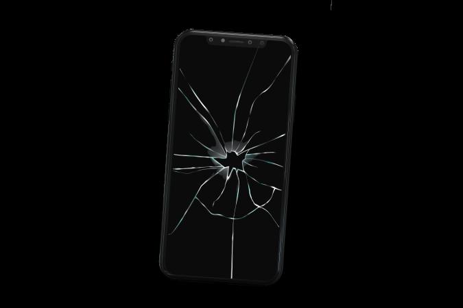 Smartphone cassé incliné